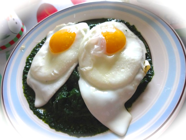 Variations on eggs with spinach
