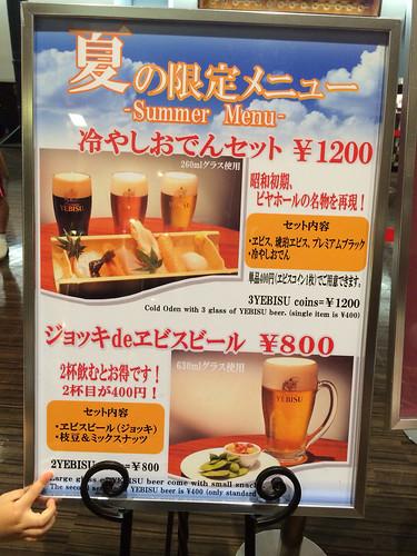 ヱビスビール記念館、2014年8月の限定メニュー