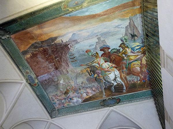 fresque plafond librairie
