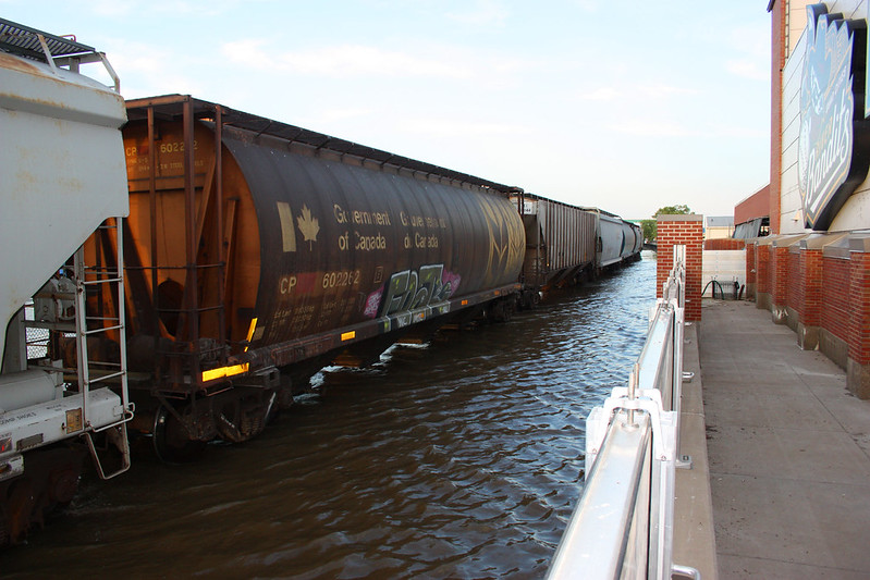 Train Going Slowly Through the Flood Waters