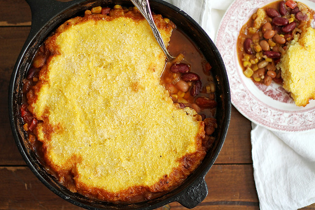 Three Bean Chili Polenta Pot Pie | girlversusdough.com