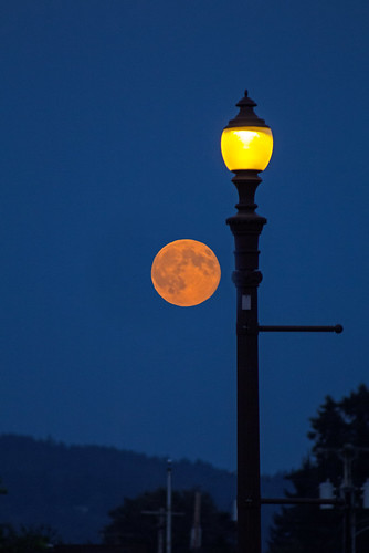 summer moon streetlamp moonrise rainieroregon supermoon