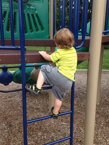 Elliott Climbing Ladder on His Own