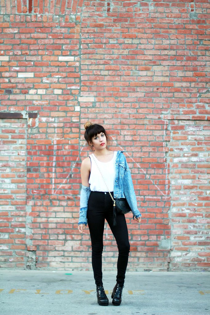 Zara basic tank, vintage denim jacket, For Love & Lemons La Fleur Bralette, American Apparel Easy Jean, vintage Chanel quilted chain purse