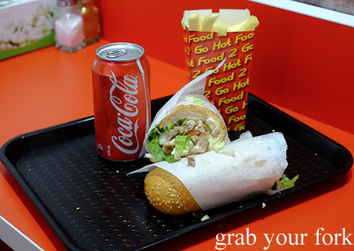 Brain and tongue sandwich with chips and soft drink meal at Aria Persian Fast Food, Merrylands