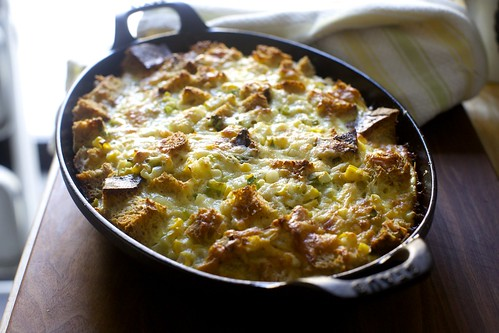 corn strata, from the oven