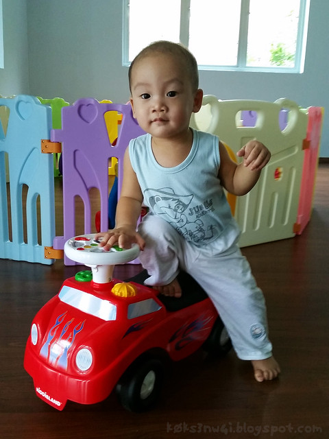 366 Days Old - Posing on Toy Car