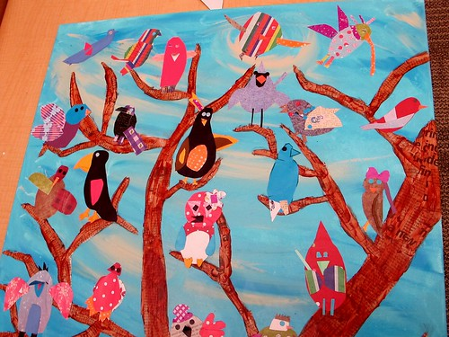 Miss L'S Art Auction Project:  Attaching Charley Harper Birds