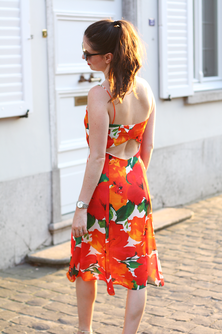 zara floral open back dress