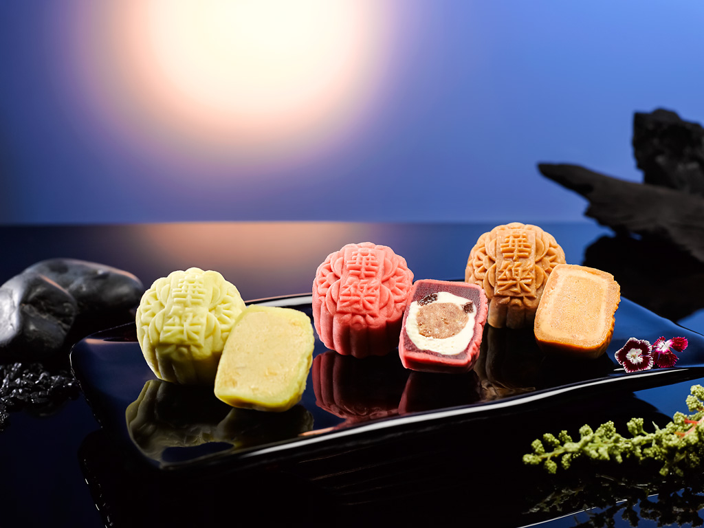 New Snowskin Mooncakes - [L to R] Mini Mao Shan Wang Durian, Mini Red Velvet, Mini Cempedak & Pineapple