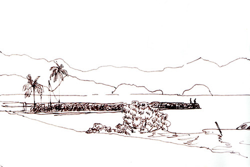 Quick sketch from the minivan, Paraty, Brazil