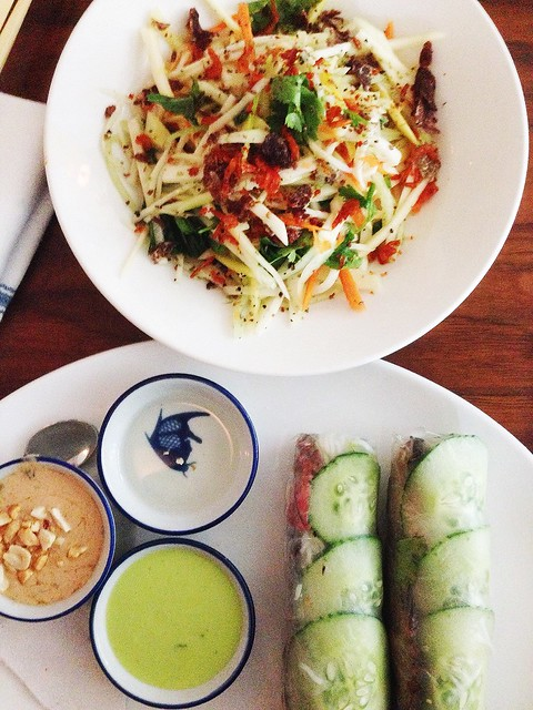 Flank Steak Spring Rolls and Green Mango & Cucumber Salad from Elizabeth Street Cafe