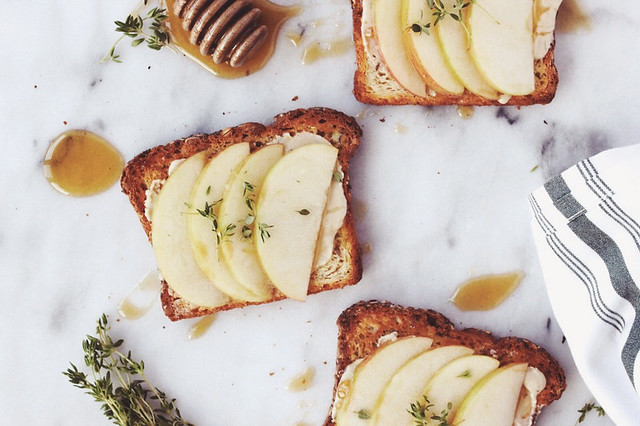 Apple, Tahini Toast with Honey and Thyme