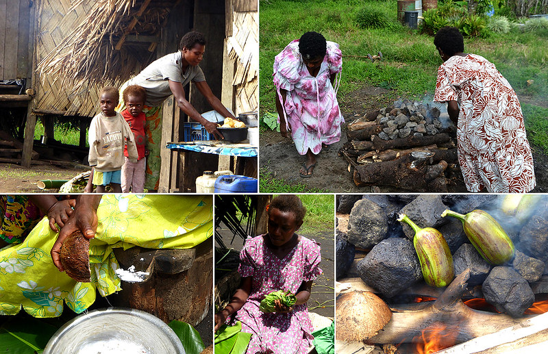 Essential ingredients in Ni-Vanuatu cuisine includes starchy vegetables, usually Taro, Kamala, Cooking Banana's or on special occassions Yams, cooked in coconut milk usually with an accompaniment of bush cabbage.