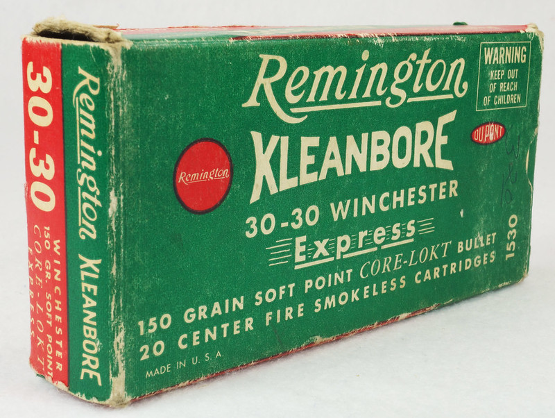 RD14567 Vintage Remington KLEANBORE 30-30 Express 150 gr. Soft Point SMOKELESS Ammo Box & 20 Brass Casings DSC06985