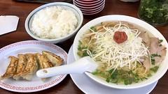 梅しそラーメン+餃子定食@魁力屋(�…
