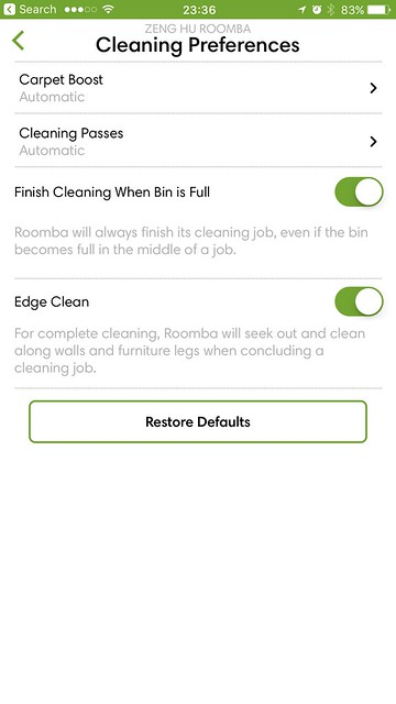 iRobot iOS App - Cleaning Preferences