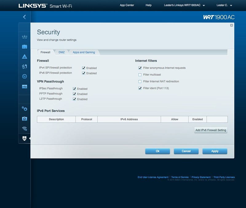 Linksys Smart Wi-Fi - Security - Firewall