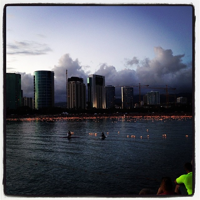 Lantern floating ceremony 2014 at Ala Moana Park, Honolulu.