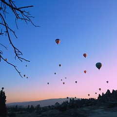 Hot Air Balloons at dawn waiting for the sun to rise. #goreme #cappadocia #turkey #wanderlust #sky #sunrise