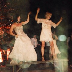 Of course this happened! Bride and mom create a bench dance party. Love these ladies! @chivas_skin_care #joneshanson