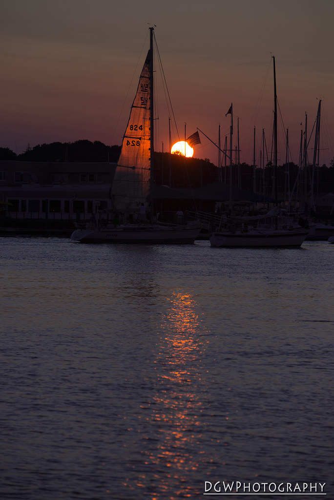 Sunset over Milford Harbor