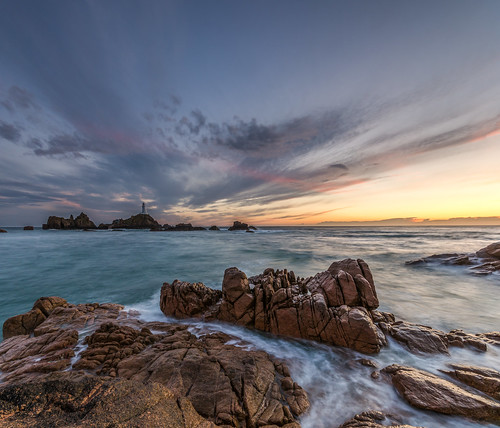 sunset sky panorama lighthouse water clouds nikon rocks long exposure pano sigma nd jersey 1020mm filters grad corbiere d7000 printed6x4 pwpartlycloudy