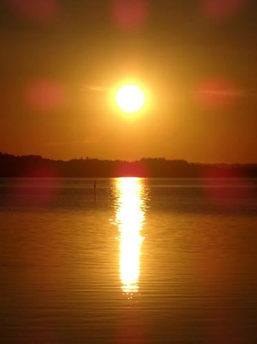 sunset reflection flare