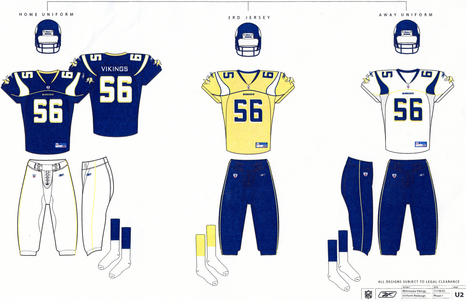 Notes  The horn-shaped shoulder stripe is similar to what the Vikes  eventually did with their 2006 redesign e5884a7a8