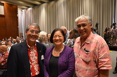 East-West Center Board of Governors Chairman Rick Tsujimura, US Senator Mazie Hirono, and EWC BOG member Tony Takitani