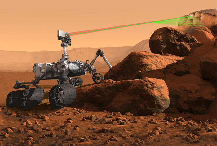 An artist's rendering of the SuperCam instrument atop the next-generation Mars rover scheduled to travel to the red planet in 2020.