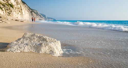 blue beach water sand surf greece egremni lefkada