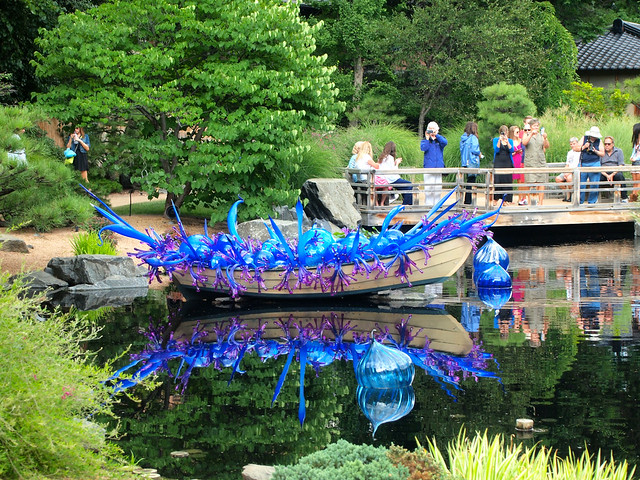 Blue and Purple Boat by Dale Chihuly at Denver Botanic Gardens