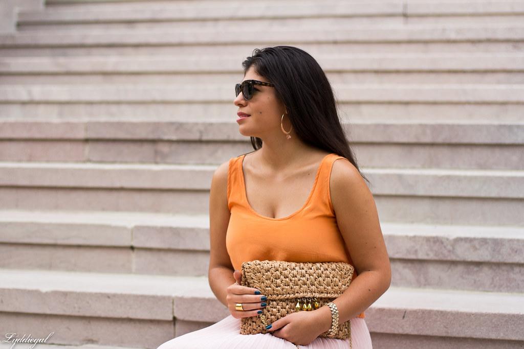 Blush chiffon maxi skirt, orange silk blouse-5.jpg