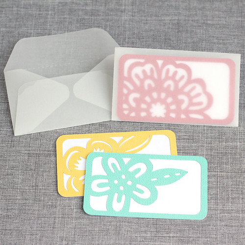 Business card decorations with vellum envelopes