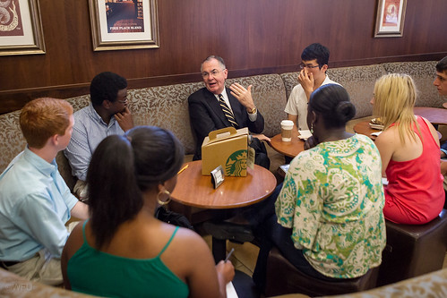 President Hatch speaks with students at the ZSR Starbucks