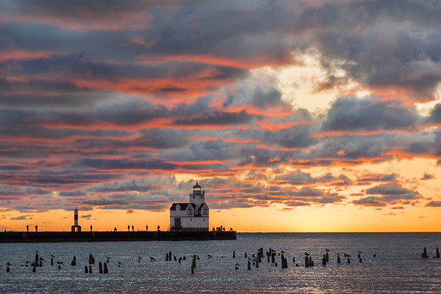 Clouds, Sunrise, Sunset, Lighthouse, Kewaunee, WI, Lake Michigan
