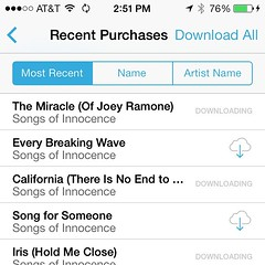 downloading the free #U2 record from Apple