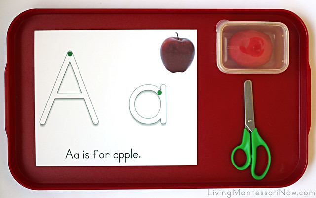 Aa Is for Apple Playdough Tray