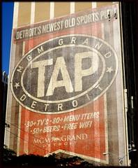Sign at Cadillac Tower: Tap Sports Bar, MGM Casino--Detroit MI