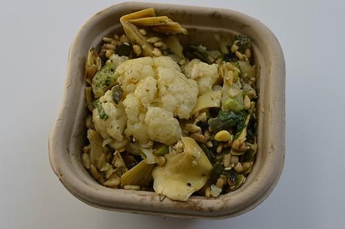 Cauliflower, artichoke, chilli and sunflower seed salad