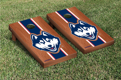 Connecticut UCONN Huskies Cornhole Game Sete Rosewood Stained Version