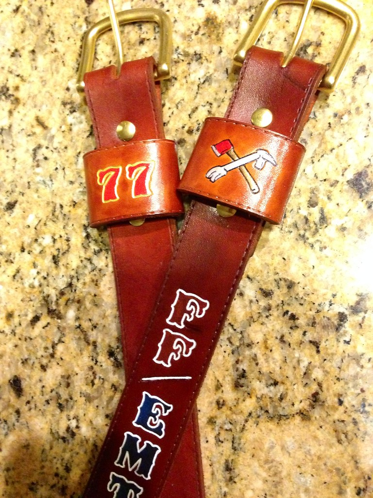 Brown radio straps with logos