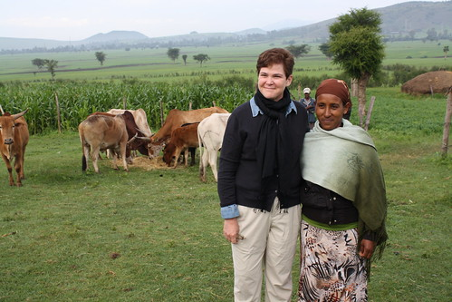 Agriculture Deputy Secretary Krysta Harden stands with dairy farm owner Ms. Yetemwork Tilahun on Tilahun's farm near the city of Mojo, about 50 miles south of Addis Ababa, Ethopia on Aug. 28, 2014. USDA photo.