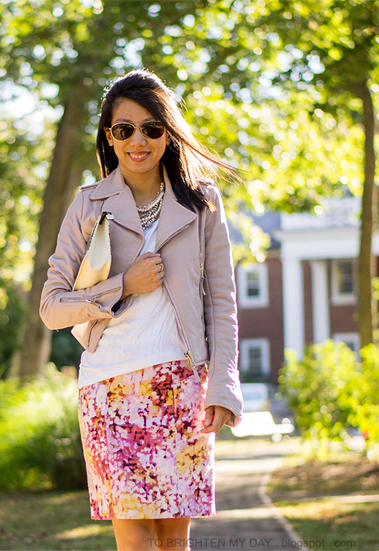 lilac leather jacket, floral pencil skirt, lace printed clutch