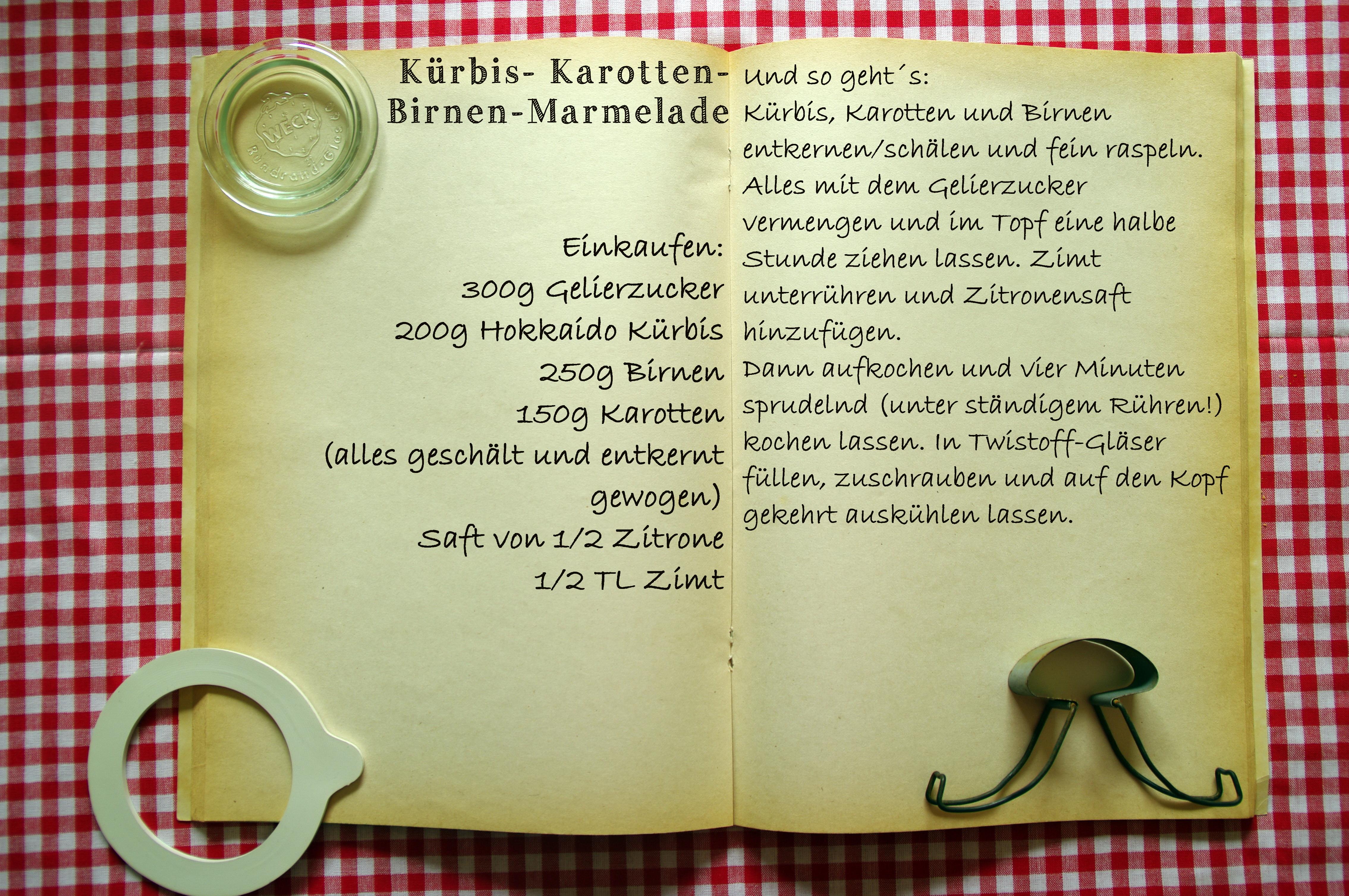Einkaufszettel Kürbis-Birne-Karotte-Marmelade by Glasgeflüster