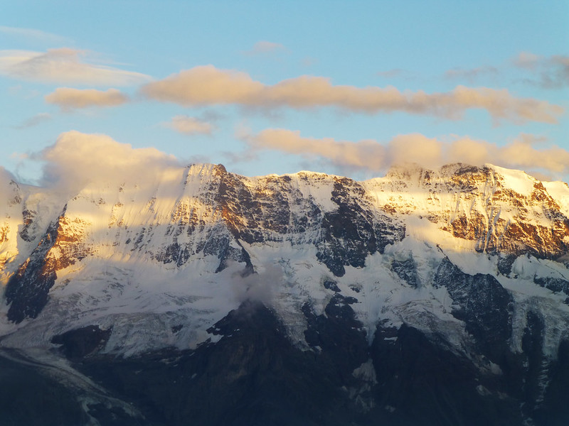 golden glow on the mountains