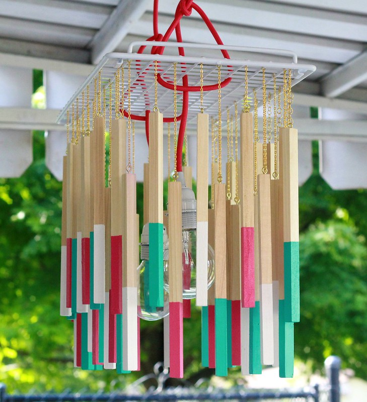 how to make a diy color cord company dowel pendant light via Kristina J blog