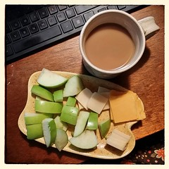 "I'm really not good at this #breakfast thing (egg allergies really cut out a lot of typical ""breakfast"" foods). Here's what's fueling me this morning. #apples #cheese #coffee"