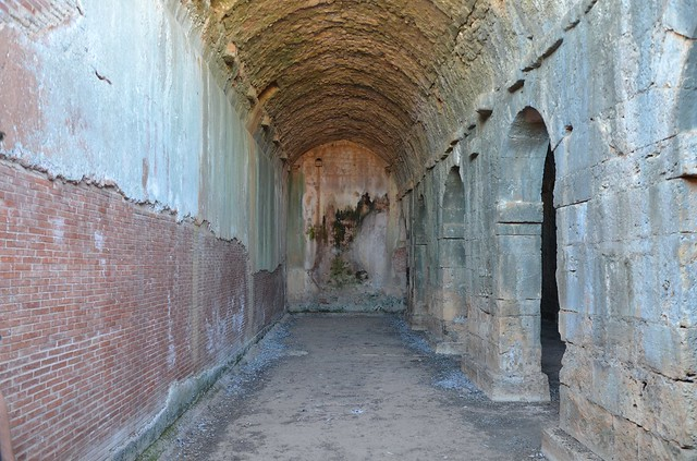 The interior of the three-parted Roman vaulted cistern, Aptera, Crete